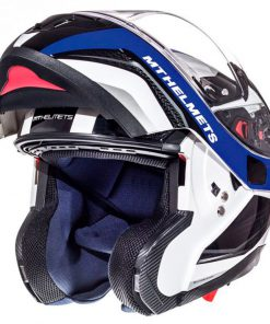 Casco MT ATOM SV TARMAC GLOSS PEARL WHITE/BLACK/BLUE modular