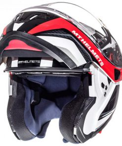 Casco MT ATOM SV TARMAC GLOSS PEARL WHITE/BLACK/RED modular