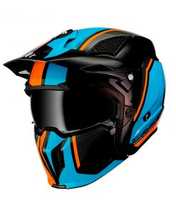 Casco MT STREETFIGHTER SV NARANJA/AZUL Convertible