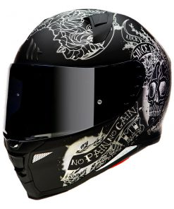Casco MT FF110 REVENGE 2 SKULL & ROSES A1 MATT BLACK Integral